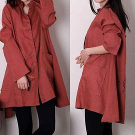 Dressco - Spring Long Sleeve Shirt Dress/ Loose Blouse Long single breasted shirt/ asymmetric linen gown