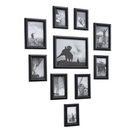 ADECO - 10 Separated Black Wood Wall Collage Photo Picture Frame Wall Decor Combination, Holds One 8x10,two 5x7,four 4x6,three 3.5x5 Inch Photos
