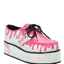 t.u.k. - Hello Kitty Drips Holographic Silver Wrap Creepers
