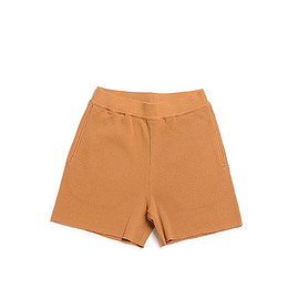 AURALEE - High Gauge Rib Shorts-Brown