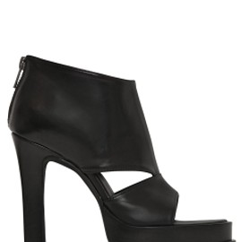 ANN DEMEULEMEESTER - 115MM LEATHER OPEN TOE ANKLE BOOTS - BLACK