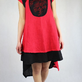 dress - Women Summer dress asymmetric ethnic linen dress in Red