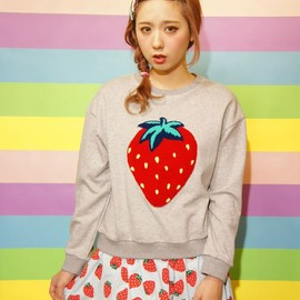 Candy Stripper - BE MY STRAWBRRY SWEAT TOPS(Tシャツ・カットソー)|ヘザ-グレー