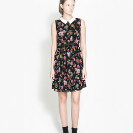 ZARA - Floral Printed Dress with Contrasting Collar