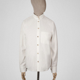 S.E.H Kelly - Off white wool cotton Kelly collar shirt