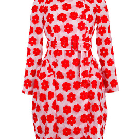 SIMONE ROCHA - SS2015 Red Embroidered Floral Asymmetric Trench Coat