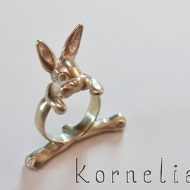 korneliaShop - Rabbit Bunny Silver Ring