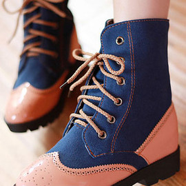 fashion - Image of [grzxy61900123]British Style Retro Perforated Mixing Color Booties