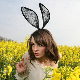 talulahblue - Mad hatter black lace bunny ears headband