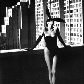 "Helmut Newton - ""Elsa Peretti in a Bunny Costume by Halston"", photo; Exhibition at Grand Palais, Paris (April 2012)"