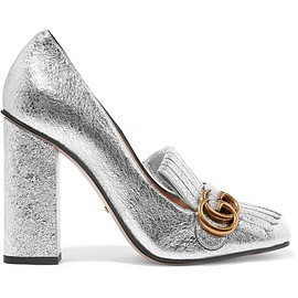 Gucci - Fringed metallic cracked-leather pumps