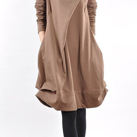 Dressco - cotton pleated loose dress shirt In brown