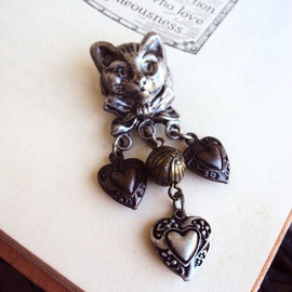 primitivepincushion - Vintage Cat Brooch Pin with Charms Pewter and Brass