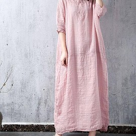 Large size robes - White Oversize long dress Large size robes dress Pink linen dress