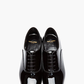 SAINT LAURENT - Black patent Blake 20 Richelieu oxfords