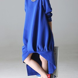 loose dress - Royal blue long dress, black maxi dress, long sleeve dress, solid color dress, loose dress