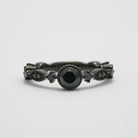 jewels & things - Silver Cubic Zirconia Ring : Black Coating