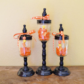 Small Gothic Apothecary Jars for Halloween -  set of 3 small candy jars