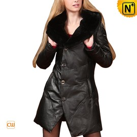 CWMALLS - Fur Hooded Leather Down Coat CW685041 - CWMALLS.COM