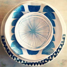 mbartstudios - porcelain 8 dish set screenprinted design.   MADE TO ORDER