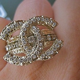 CHANEL - Gold Swarowski Crystals Band Ring