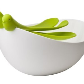 Qualy - Sparrow Salad Bowl With Green Serving Spoons
