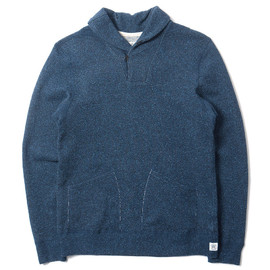 REIGNING CHAMP, Steven Alan - MIDWEIGHT WOOL TERRY SHAWLNECK PULLOVER H.NAVY