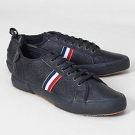 BLACK FLEECE BY Brooks Brothers - Pebble leather with grosgrain stripes. Natural gum soles and cotton canvas lining. Made in Italy.