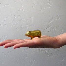 BarnabyJack - Small Brass Pig Figurine // Petite Brass Animal