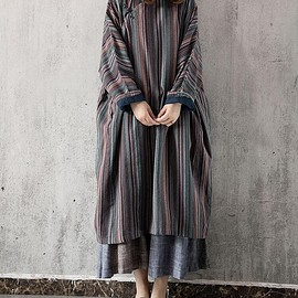Women dress - Women oversized long spring dress Loose Long sleeve long gown/ blue/ grey