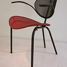 Mathieu Mategot - Nagasaki Chair, Red & Black Metal, ca 1955
