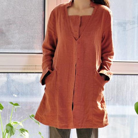 Jacket - linen single breasted Blouse Coat with lining