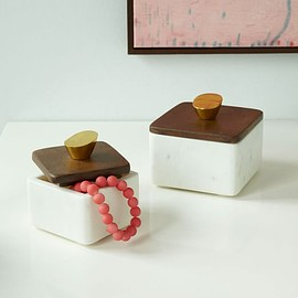 Mid-Century Marble + Wood Boxes