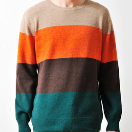 graniph - Color Block Long Sleeve Knit(Orange)