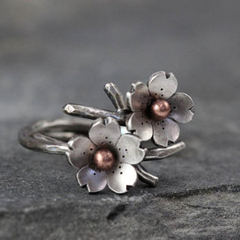 Cherry Blossom Branch Adjustable Ring