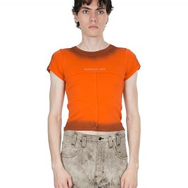 eckhaus latta - orange brunt lapped baby tee