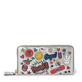 ANYA HINDMARCH - Large Zip Round Wallet All Over Wink Stickers in Silver Metallic Capra - SILVER METALLIC