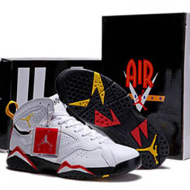 Cardinal Red/Yellow/White Air Nike Jordan 7 2001 Sport Shoes Mens