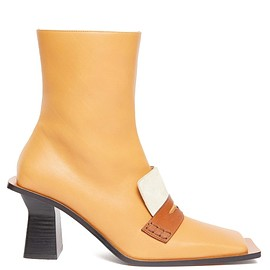 LOEWE - Oversized-sole square-toe leather boots(SS2020)