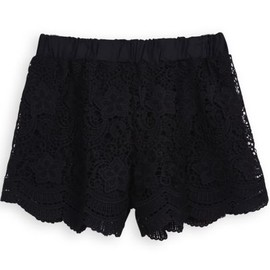 sheinside - Black Elastic Waist Hollow Embroidered Shorts pictures