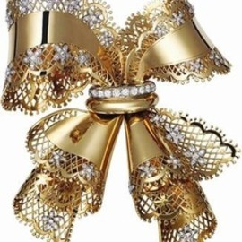 Van Cleef & Arpels - vintage Lace Bow Knot brooch…Yellow gold, platinum, diamonds 1945