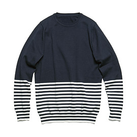 uniform experiment - HEM BORDER CREW NECK KNIT/navy
