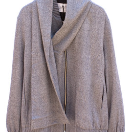 ffiXXed - INTEGRATED SCARF BOMBER LIGHTGREY MIX