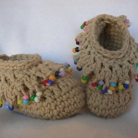 so cute crocheted booties #Beads #macassins