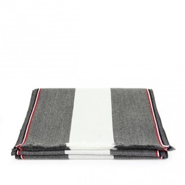 Thom Browne - White & Grey Wool Scarf