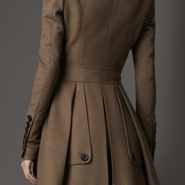 BURBERRY - Brown Fitted Wool Cashmere Pea Coat
