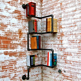 stellableudesigns - Bookshelf Industrial Pipe Corner Shelf