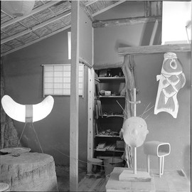 Isamu Noguchi / イサム・ノグチ - A photograph by Noguchi of his studio at Kita Kamakura circa 1951.