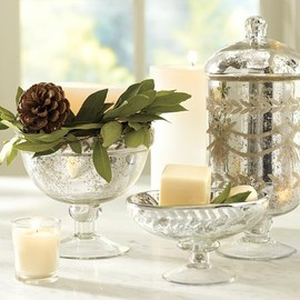 Pottery Barn - Etched Mercury Glass Bath Accessories