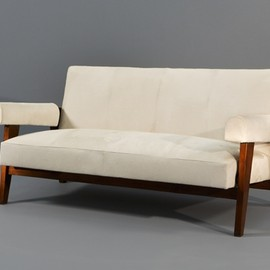 Pierre Jeanneret - Teck & Horse leather Chandigarh Sofa, India, ca 1955